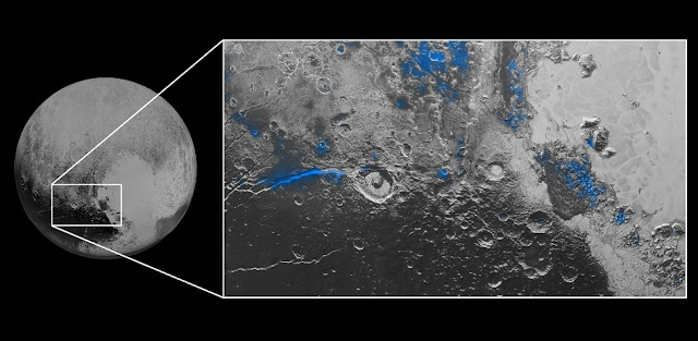 Water Ice on Pluto: Regions with exposed water ice are highlighted in blue in this composite image from New Horizons' Ralph instrument, combining visible imagery from the Multispectral Visible Imaging Camera (MVIC) with infrared spectroscopy from the Linear Etalon Imaging Spectral Array (LEISA). The strongest signatures of water ice occur along Virgil Fossa, just west of Elliot crater on the left side of the inset image, and also in Viking Terra near the top of the frame. A major outcrop also occurs in Baré Montes towards the right of the image, along with numerous much smaller outcrops, mostly associated with impact craters and valleys between mountains. The scene is approximately 280 miles (450 kilometers) across. Note that all surface feature names are informal. (Credit: NASA/JHUAPL/SwRI)