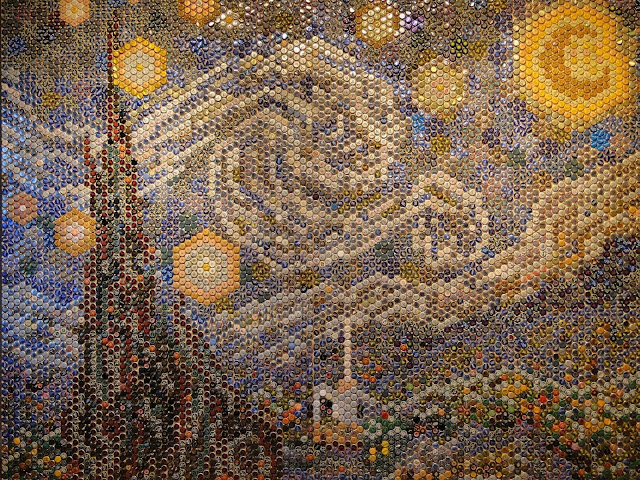 Starry Night, van Gogh, beer bottle caps