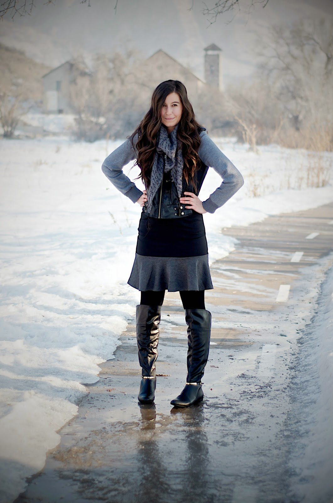 grunge outfit, edward eliason photography, black and grey outfit, marc fisher boots, persun mall skirt, persun mall, tillys jacket, leather jacket, black and grey jacket, kensie scarf, script scarf, over the knee boots,
