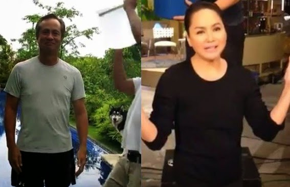 "ABS-CBN chairman Eugenio ""Gabby"" Lopez III and president and CEO Charo Santos Concio do the Ice Bucket Challenge"