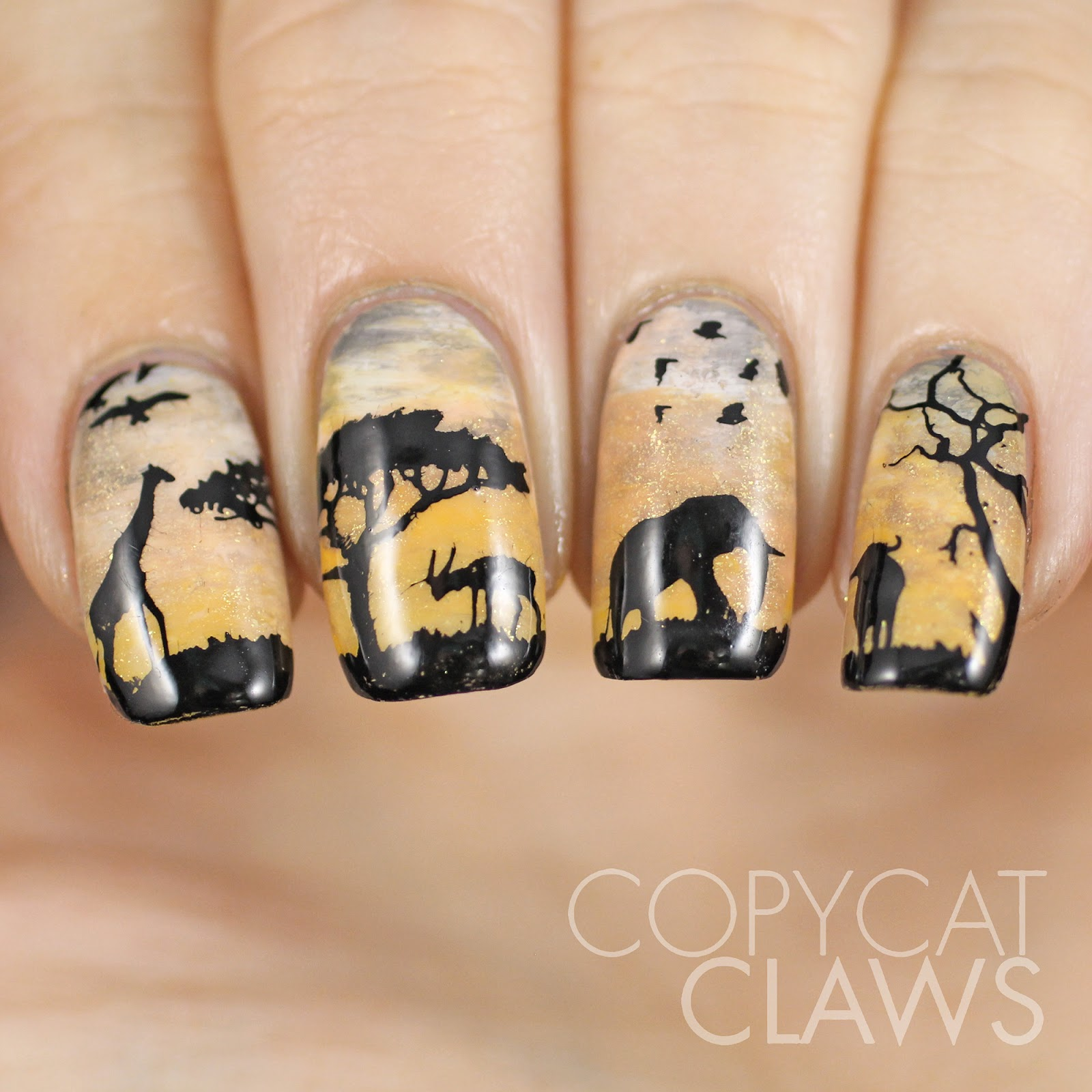 Copycat Claws: Sunday Stamping - Wildlife Nail Art
