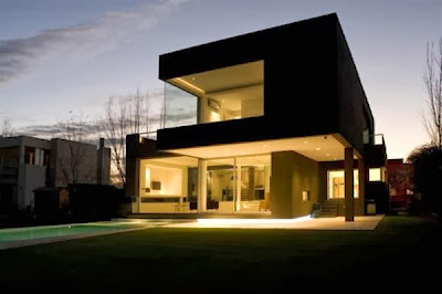 Rumah minimalis desain hitam moderen