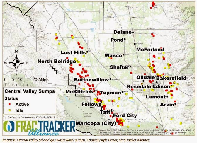 Fracking Waste Water Dumping Map of California Central Valley on