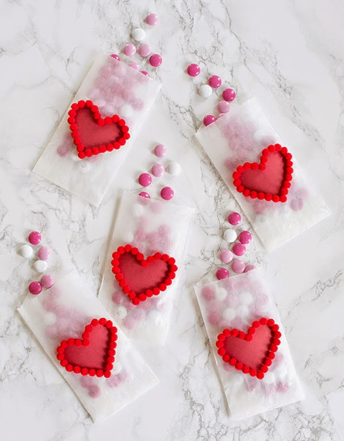 DIY Pom Pom Heart Treat Bags | Homey Oh My