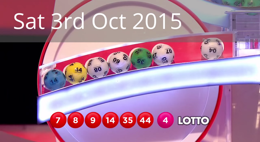 The National Lottery 'Lotto' draw results from Saturday 3rd October 2015: 7,8,9,14,35,44; bonus ball: 4