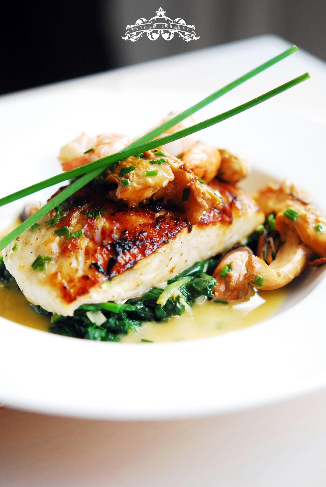 Roast cod fillet with shellfish beurre blanc and wild for Cod fish fillet recipes