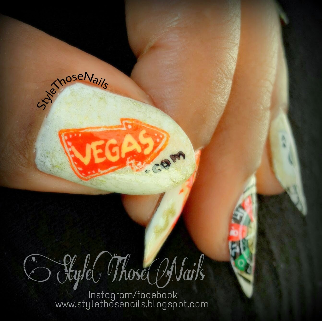 Style those nails night out in vegas a las vegas themed nail art night out in vegas a las vegas themed nail art prinsesfo Gallery