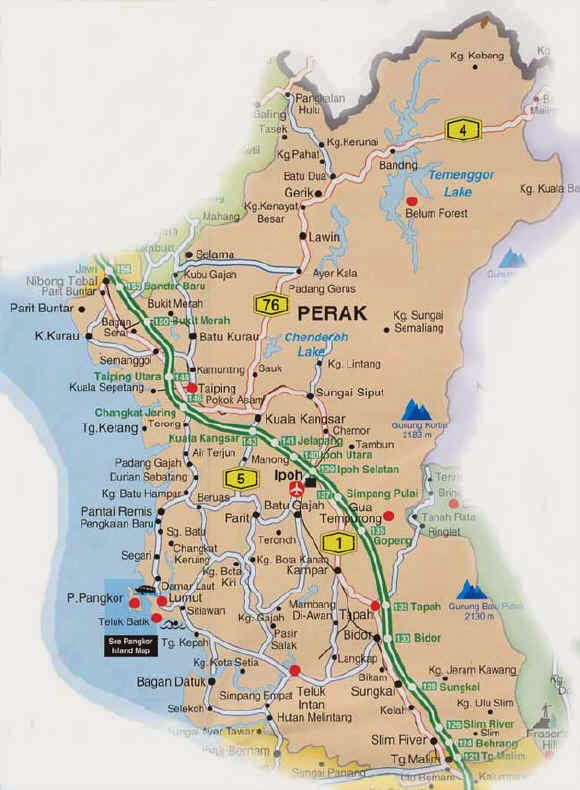 Malaysia state city town and place to visit Perak Map