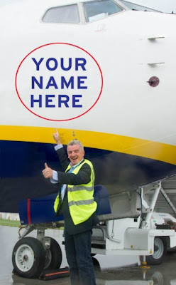 Ryanair is selling advertising on its planes, on the wing tips and the front and rear fuselage