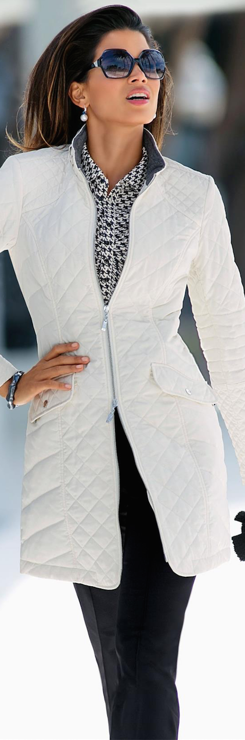 MADELEINE QUILTED COAT WOOL WHITE