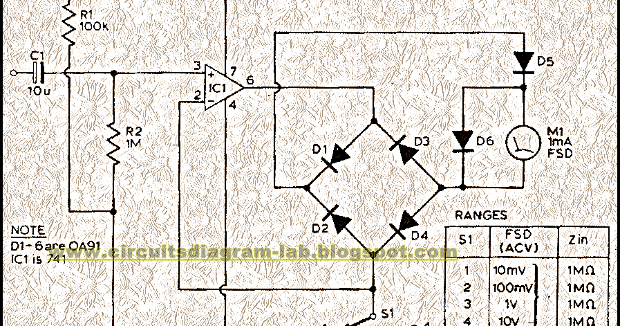 Simple Audio Milli Volt Meter Circuit Diagram