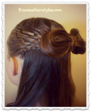 Woven half up bow hairstyle tutorial