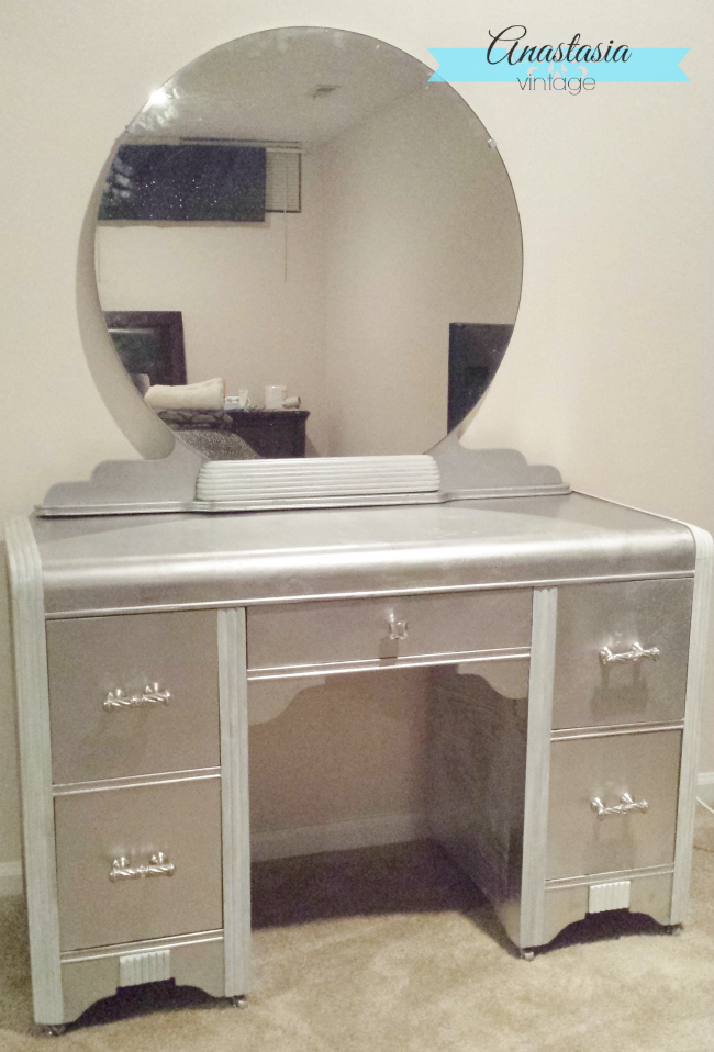 Faux Silver Leaf Art Deco Vanity with Rustoleum metallic spray paint