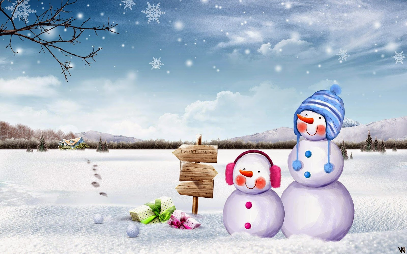 Cute-Snowman-with-little-snowman-in-ice-north-pole-village-HD-wallpaper-free-download.jpg