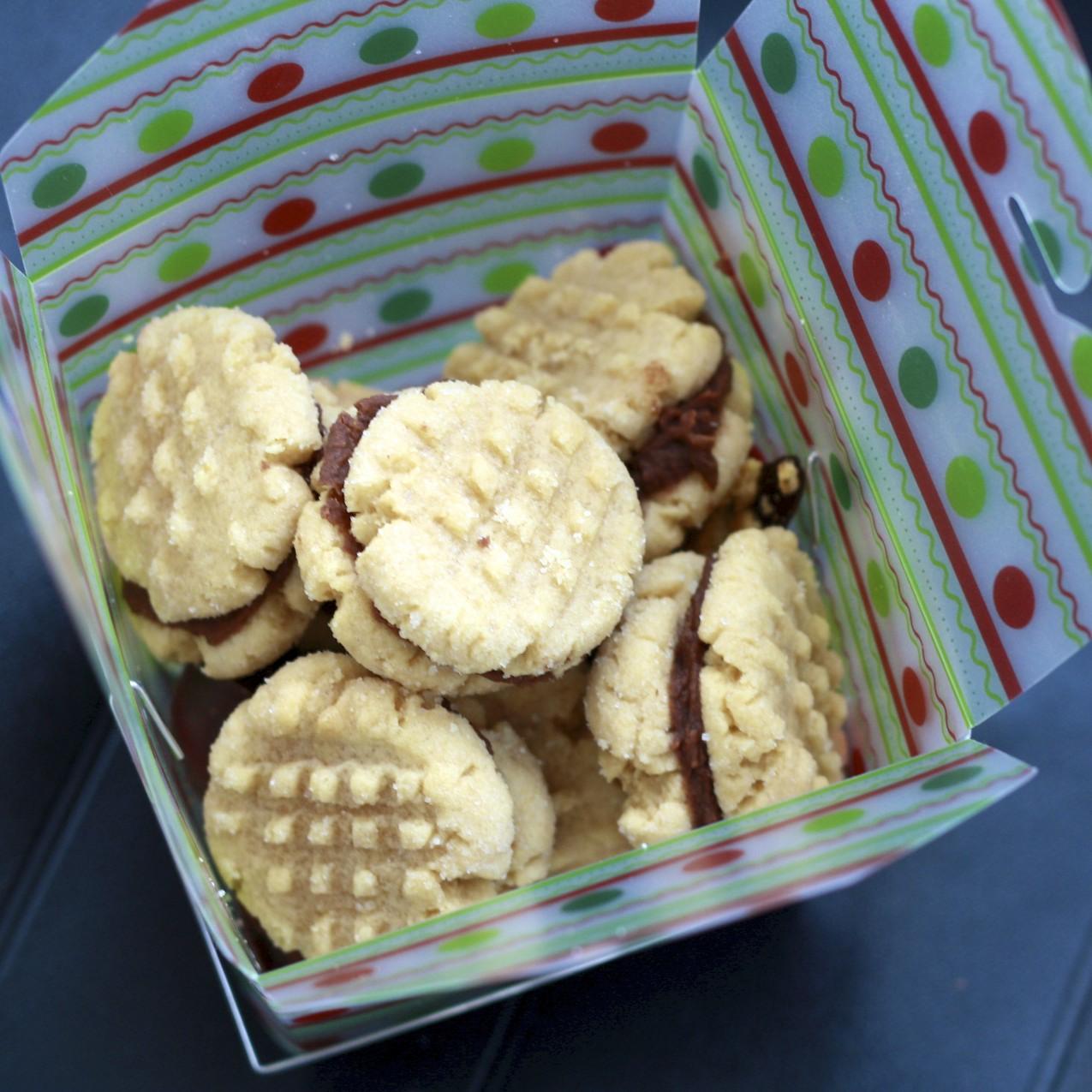 Peanut Butter Sandwich Cookies with Hot Chocolate Buttercream