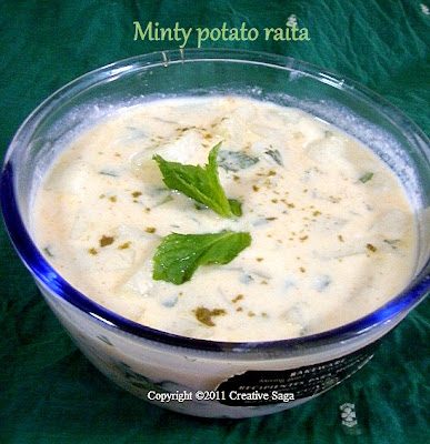 minty potato raita