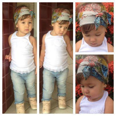 White shirt, bandana, jeans and cute shoes for kids