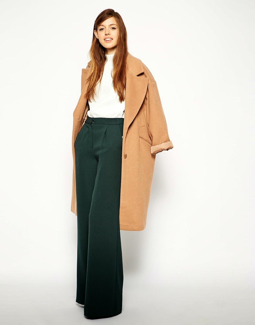 wide leg green trousers