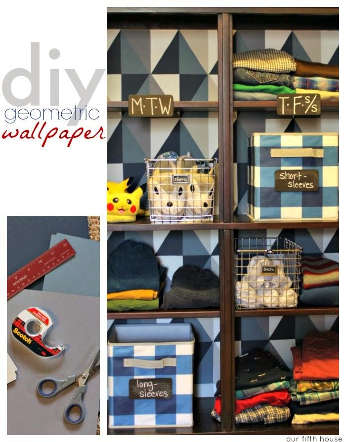 diy geometric wallpaper