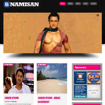 NamiSan blog template. template image slider blog. magazine blogger template style. wordpress them to blogger template