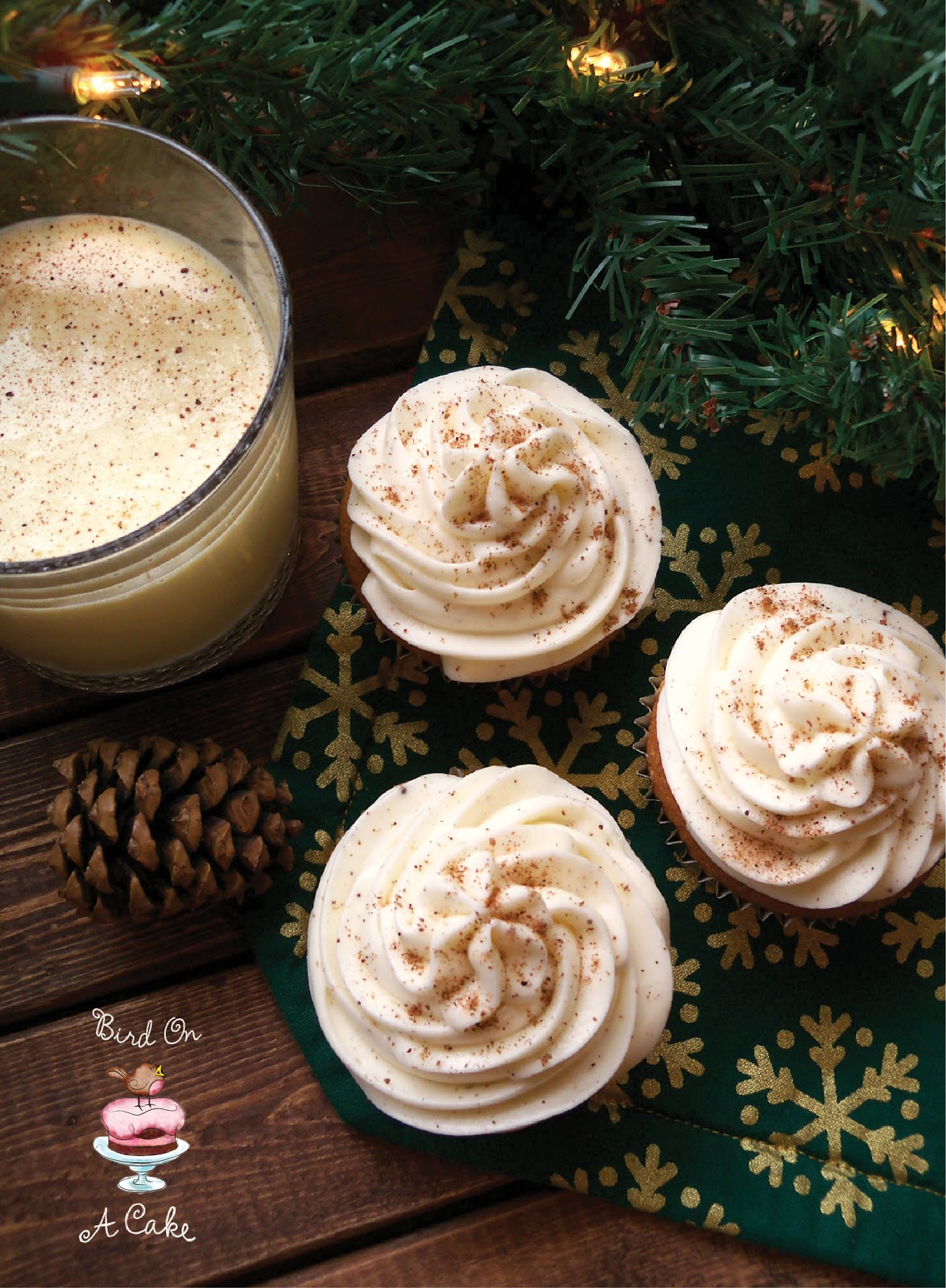 Bird On A Cake: Eggnog Cupcakes with Nutmeg Frosting
