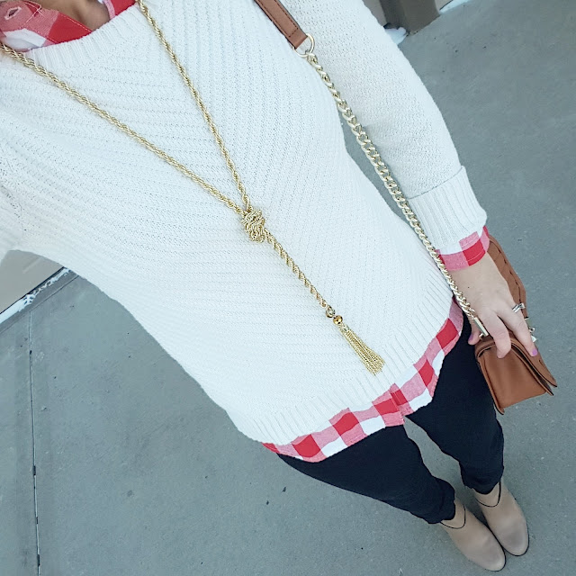 Banana Republic Factory Sweater (similar - on sale for $20!) // Old Navy Buffalo Check Top (similar - I can't find it anywhere in red and white) // 7 For All Mankind Jeans - 50% off! // Cole Haan Calixta Booties // Rebecca Minkoff Handbag (more handbags on sale here) // Purple Peridot Lariat Necklace