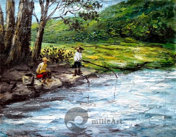 lukisan pemandangan memancing