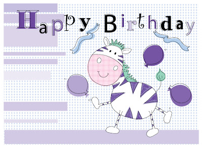 Dancing zebra birthday card in purple.