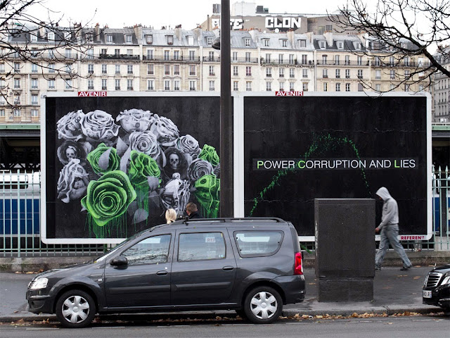 """Power Corruption And Lies"" New Street Piece by French artist Ludo in Paris, France. 2"