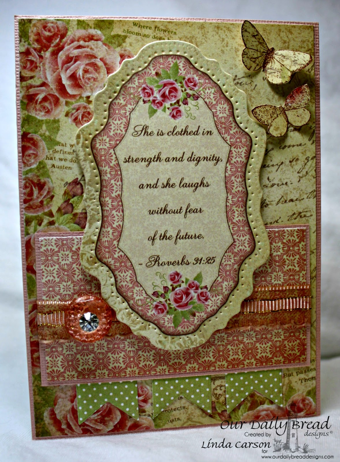 Our Daily Bread Designs, Faith, Pennant die, Vintage Flourish Pattern die, Blushing Rose Collection papers, designer Linda Carson
