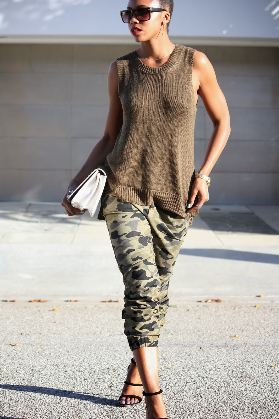 Wearing H&M khaki sleeveless knit vest, H&M mens camouflage pants and sunglasses, Forever 21 heeled sandals