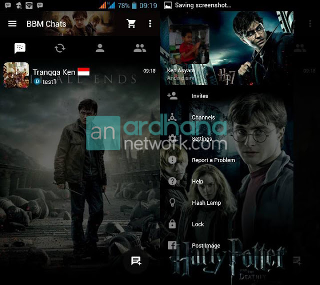 Preview BBM Harry Potter V2.10.0.31