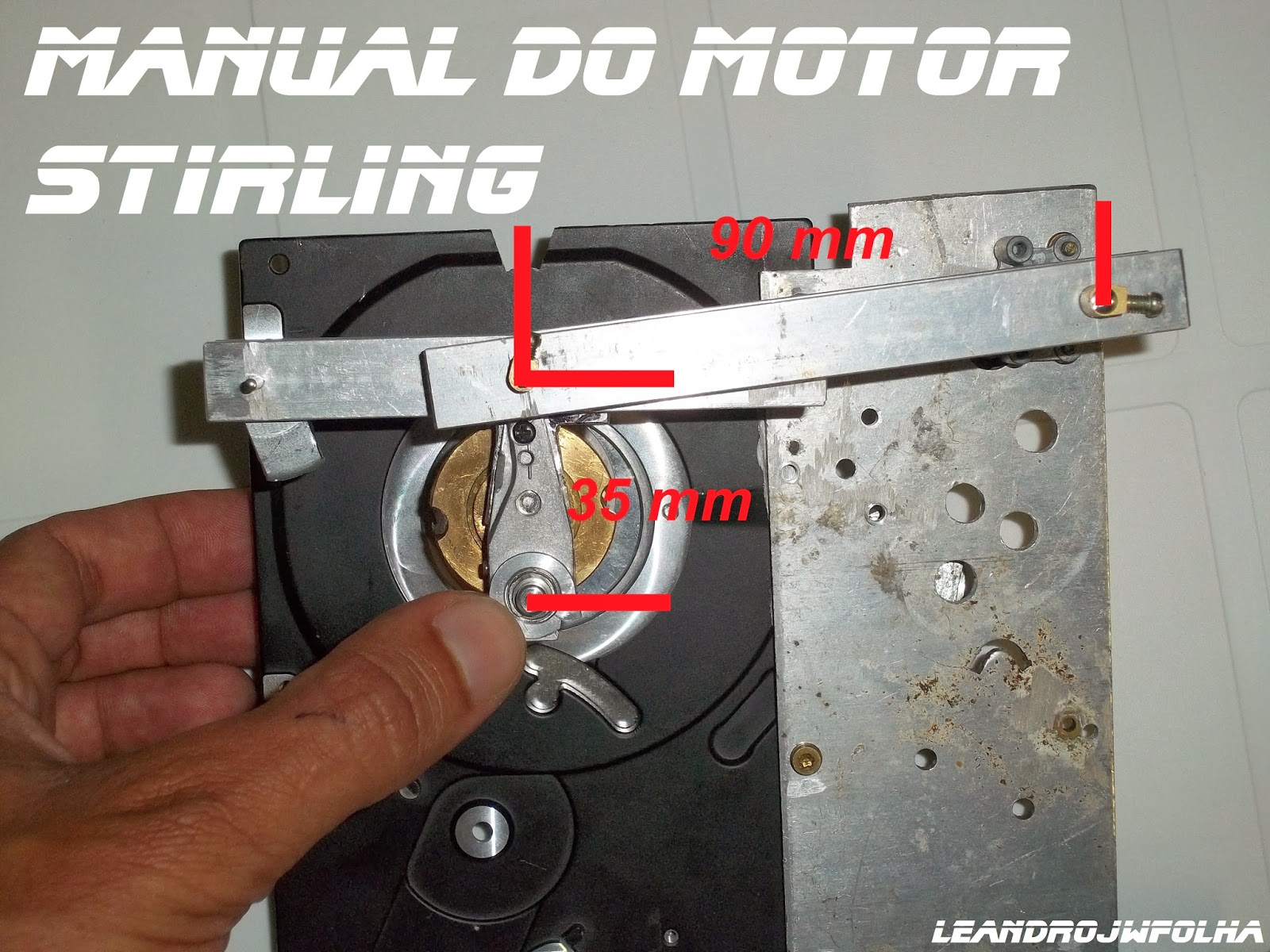 "Manual do motor Stirling, medidas do ""T"""