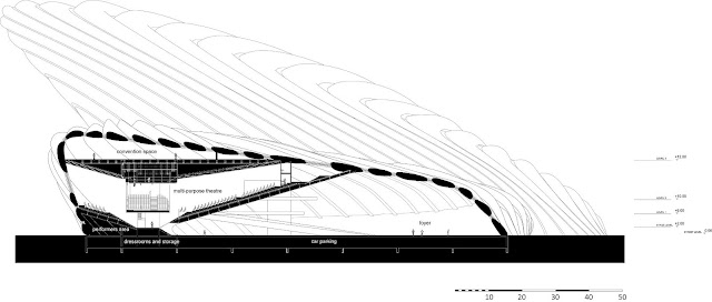 Illustration of section B on new opera house in Busan