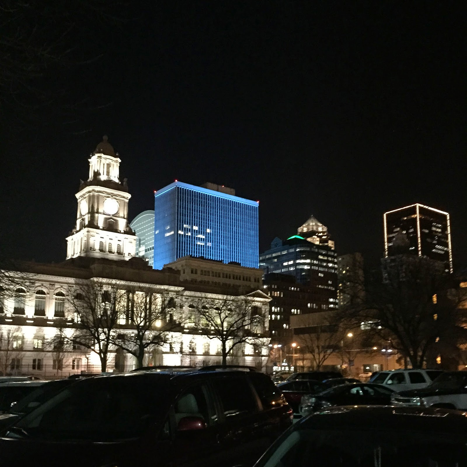 Downtown Des Moines lights up at night