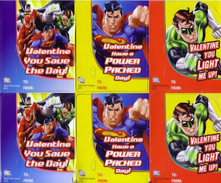 Justice League, Superman and Green Lantern cards from the Justice League Valentine Candy Card Kit
