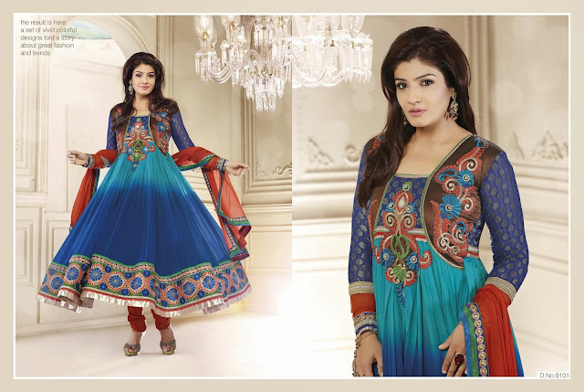 Latest Bollywood Raveena Tandon  Embroidery Designer Anarkali Suits With Full Sleeves