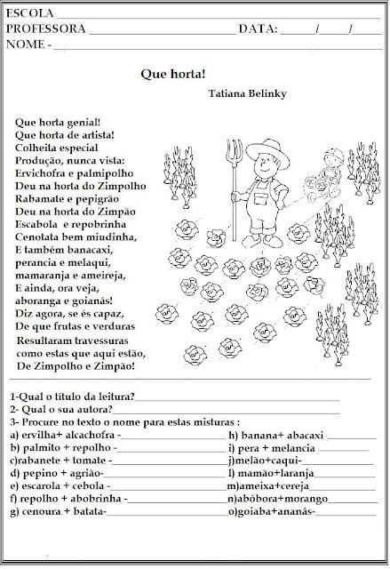 atividades alfabetizacao jardim horta pomar:ALFABETIZAÇÃO DIVERTIDA: TEXTO: QUE HORTA!