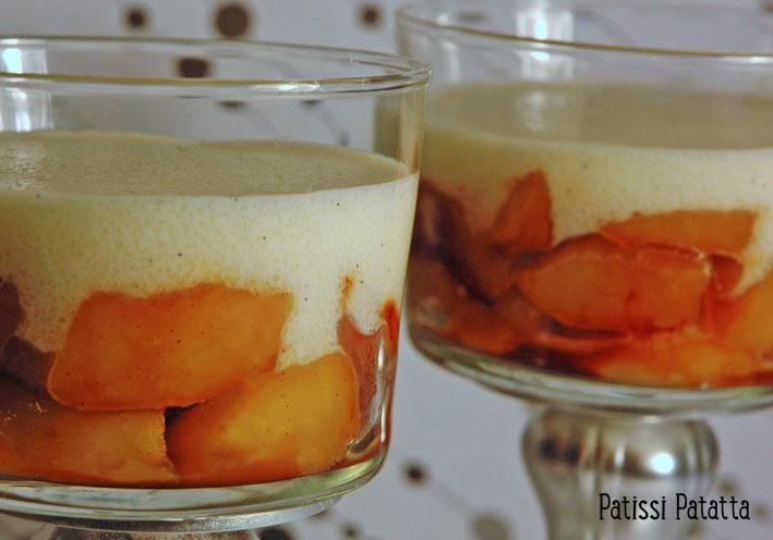 recette de pommes caramélisées, recette de semoule au lait, verrines pommes et semoule,