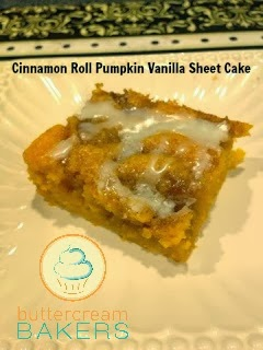 Buttercream Bakers: Cinnamon Roll Pumpkin Vanilla Sheet Cake