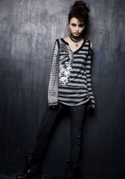 Striped Punk T-Shirt for Women
