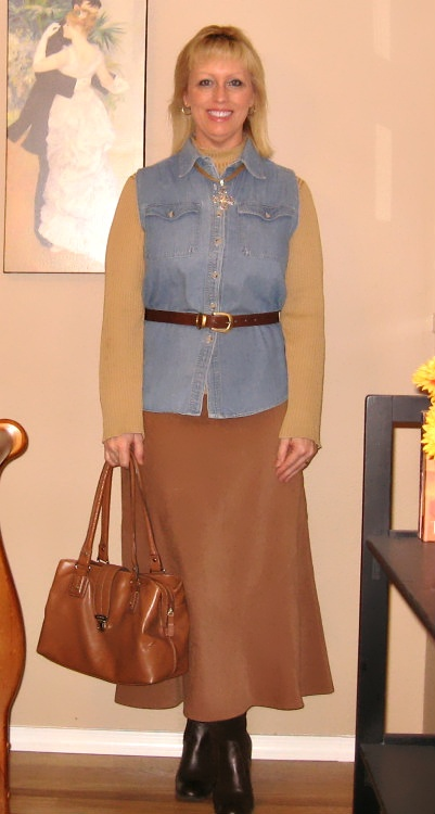 suede skirt with denim