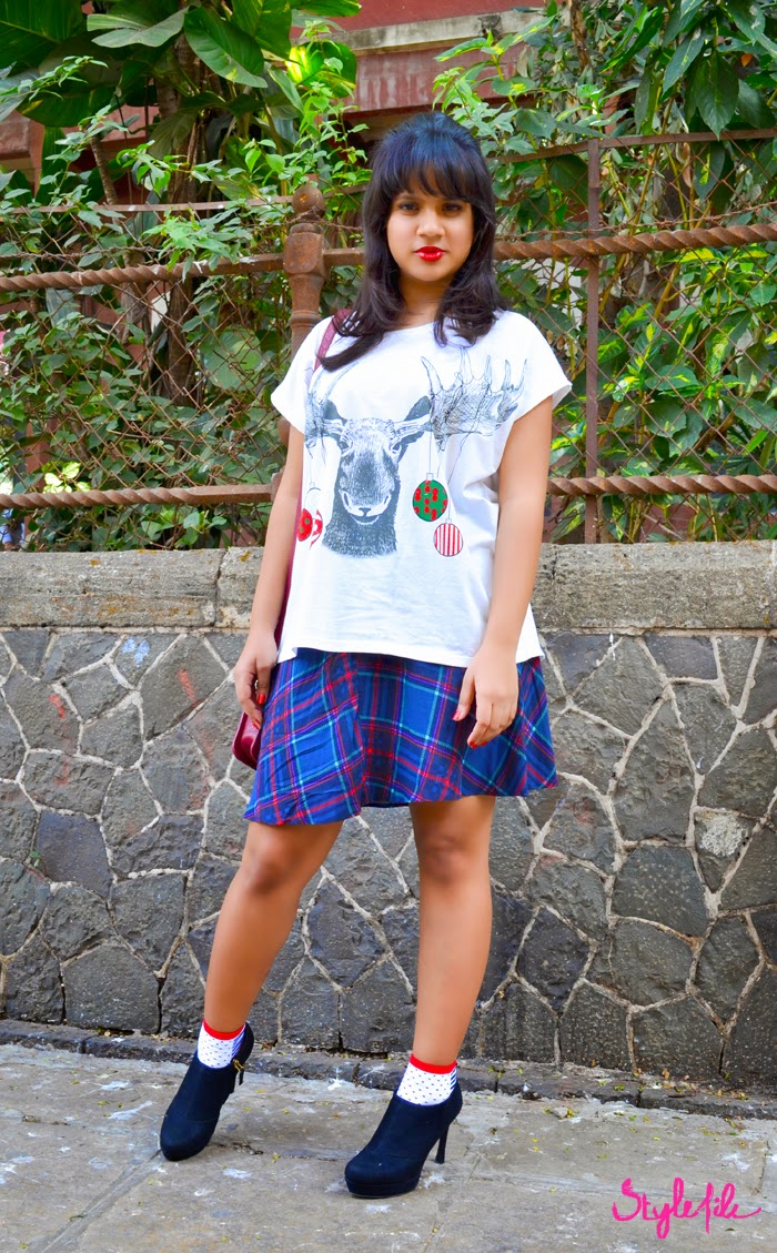 booties, plaid, skirt, socks, bow, tshirt, outfit, style file, lookbook