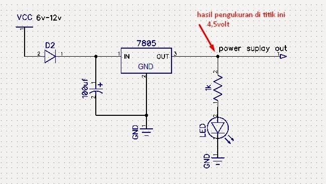 rangkaian power suplay regulator 7805 tidak stabil