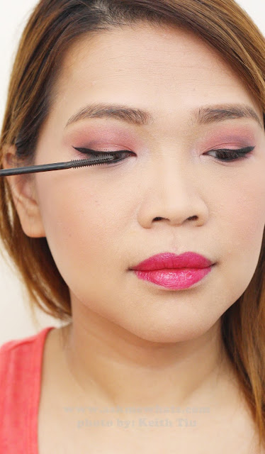 a photo of a Valentines Day Makeup tutorial using max factor x mascara