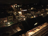 A night scene at the St. Jacobs & Aberfoyle Model Railway