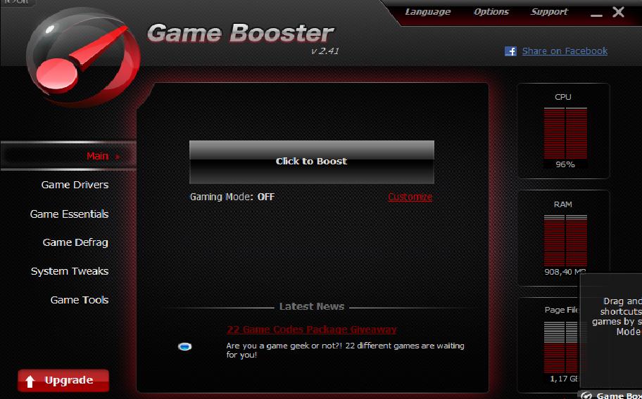 Chris-pc game booster ekran görüntüsü