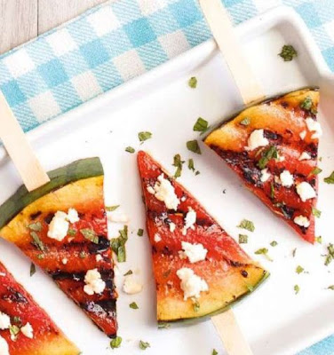 Grilled Watermelon Salad on a Stick