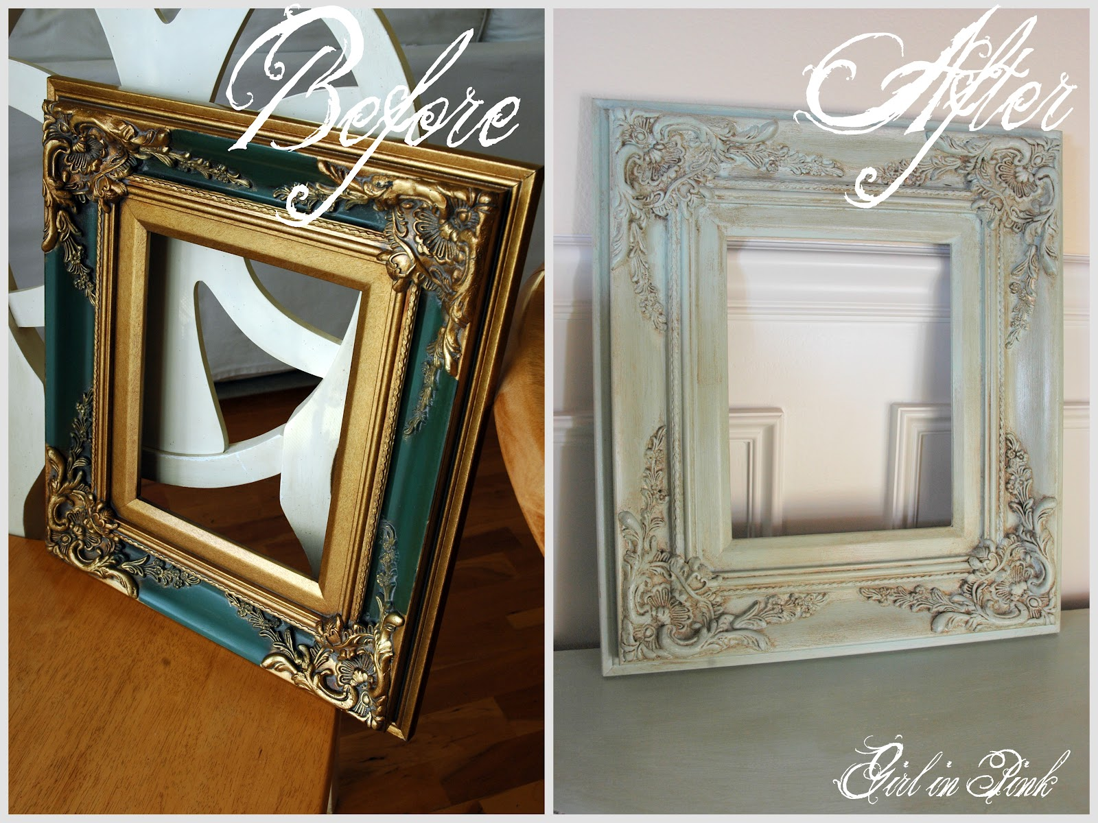 Girl in pink ten projects one can of chalk paint for Old picture frame projects