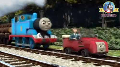 Crash bang and a bash little blue Thomas the train engine bumped into Winston railway train crash